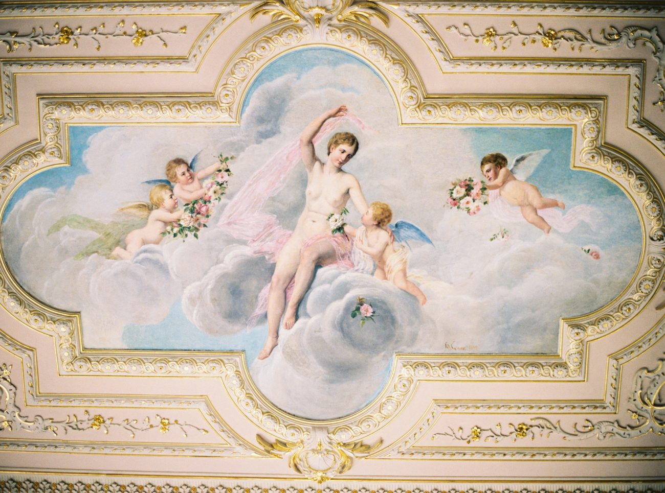 Portuguese palace interior painted ceiling