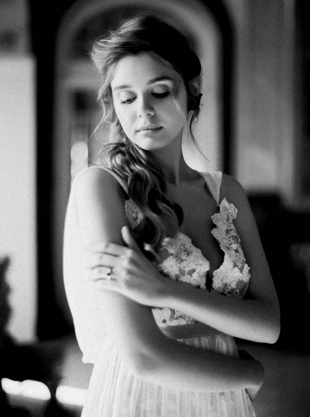 Wedding Style Shoots - bride with grey wedding dress and light behind