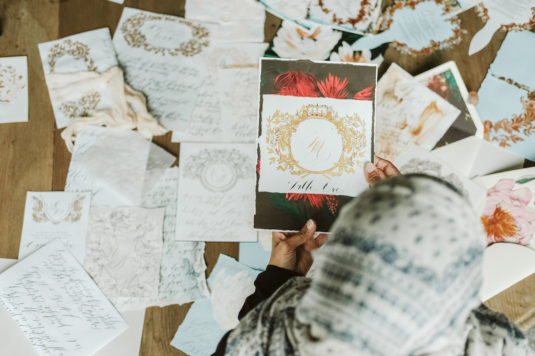 Wedding Style Shoot with hand painted invitation collection