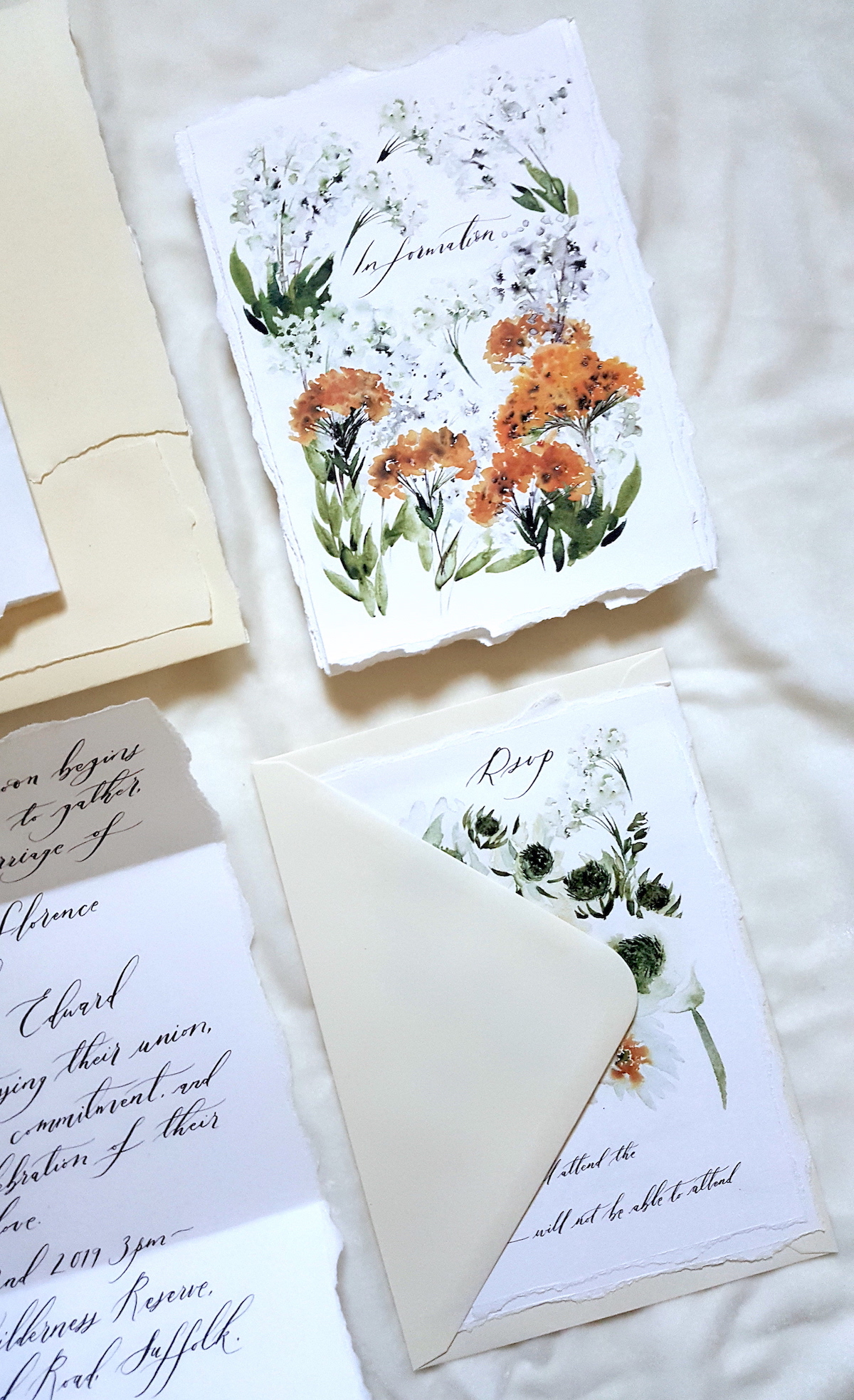 Bespoke Watercolour Wedding Invitations showing information and rsvp cards with floral designs