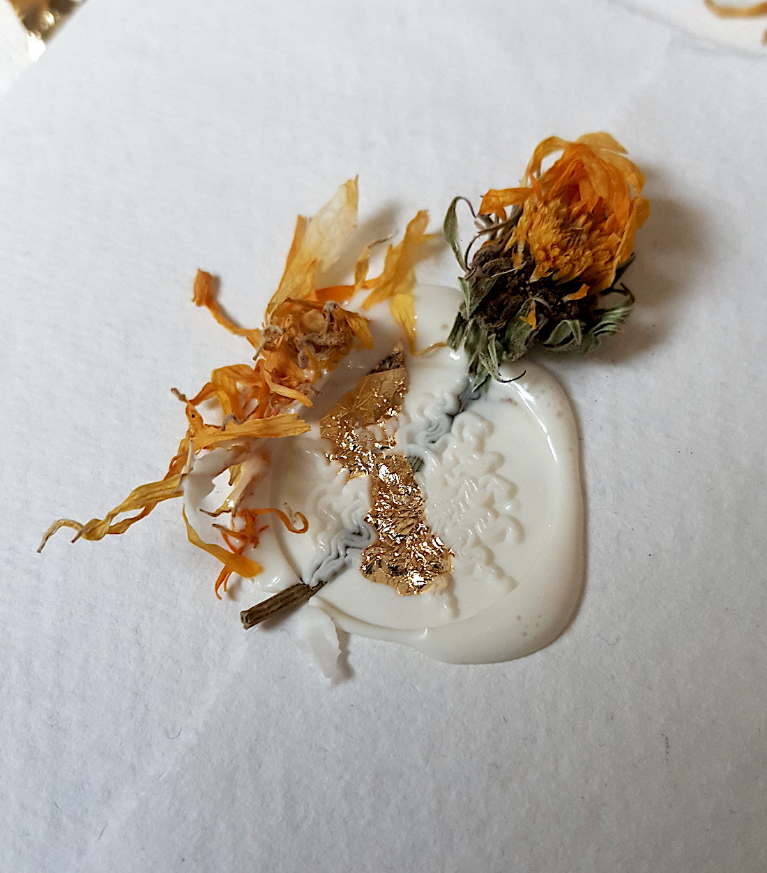 Bespoke Watercolour Wedding Invitations with cream wax seal with gold foil and dried flowers