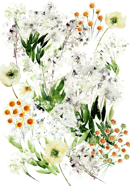 Bespoke watercolour wedding invitations- enevlope liner with white- yellow and green flowers and daisies