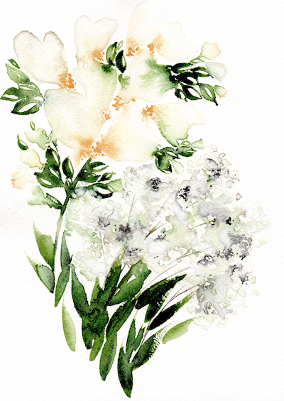 Bespoke watercolour wedding invitations white flowers with baby's breath