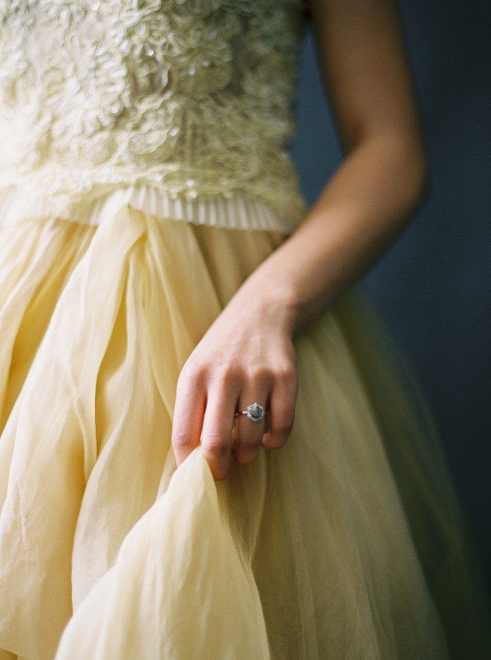 Moody Black Wedding Inspiration_yellow dress detail