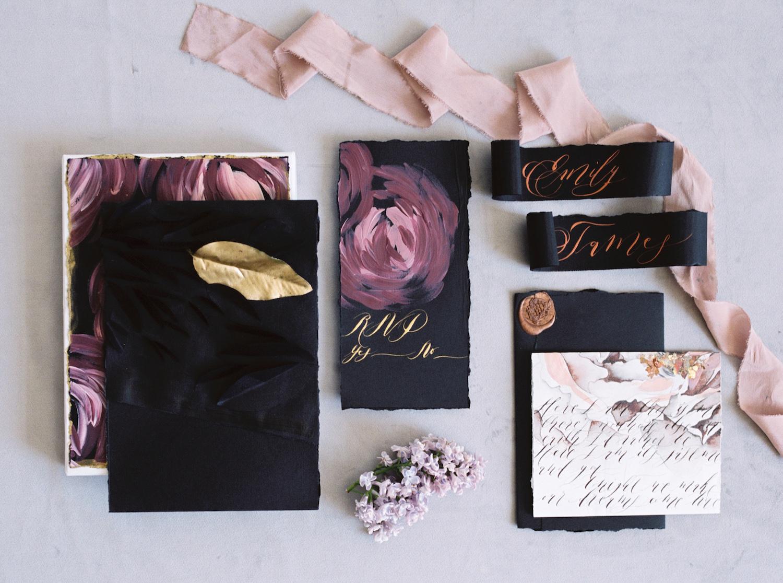 London Wedding Invitations_black wedding invitationswith a hand painted invitation box