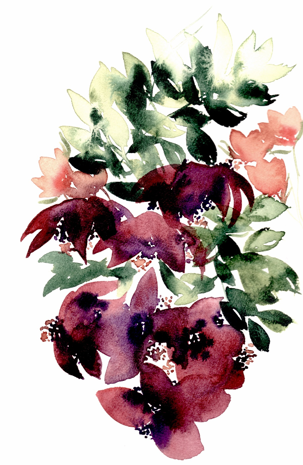 Abstract Floral Illustrations with aubergine plum orchids copy