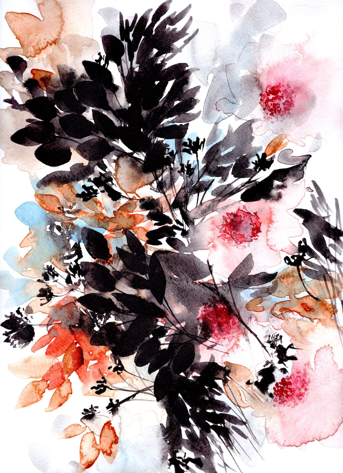 Abstract Floral illustration with pink flowers and orange leaves copy