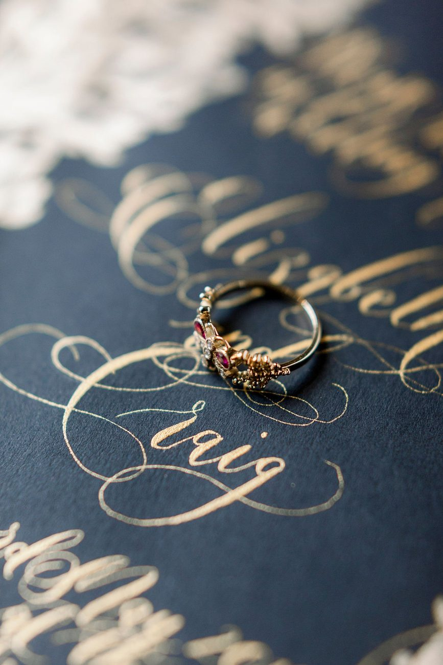 Baroque Wedding gold calligraphy on black wedding invite