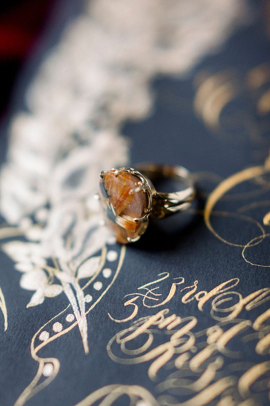 Baroque Wedding large ring on black wedding invitation