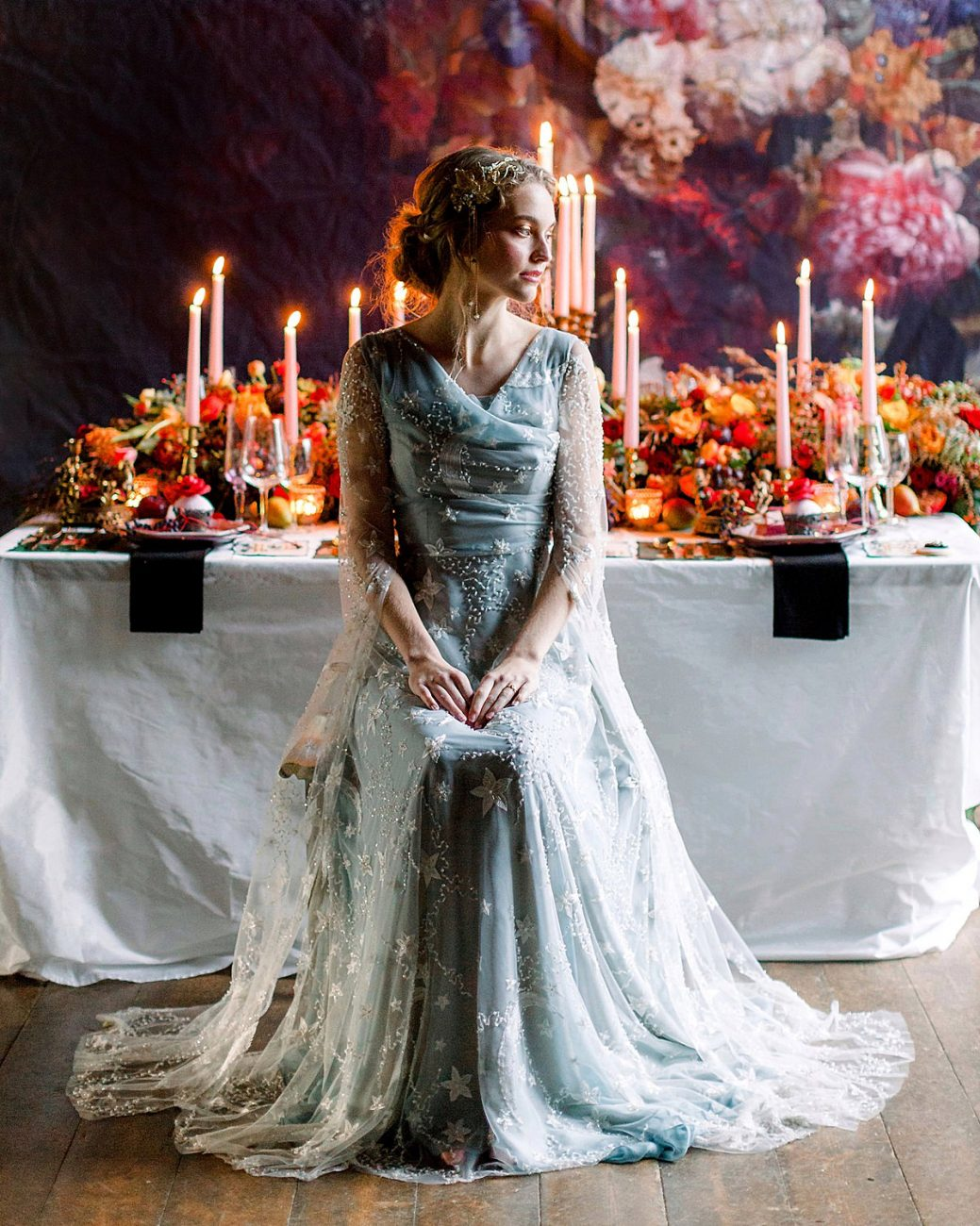 Baroque wedding ideas with a bride in a light blue and white dress