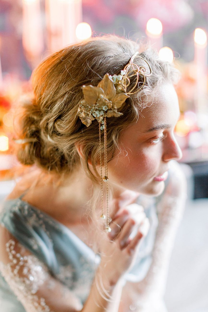 Baroque wedding ideas with bride wearing an antique gold head piece