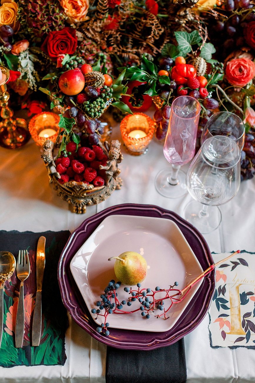 Baroque wedding with rich red winter table decor ideas with moody menus