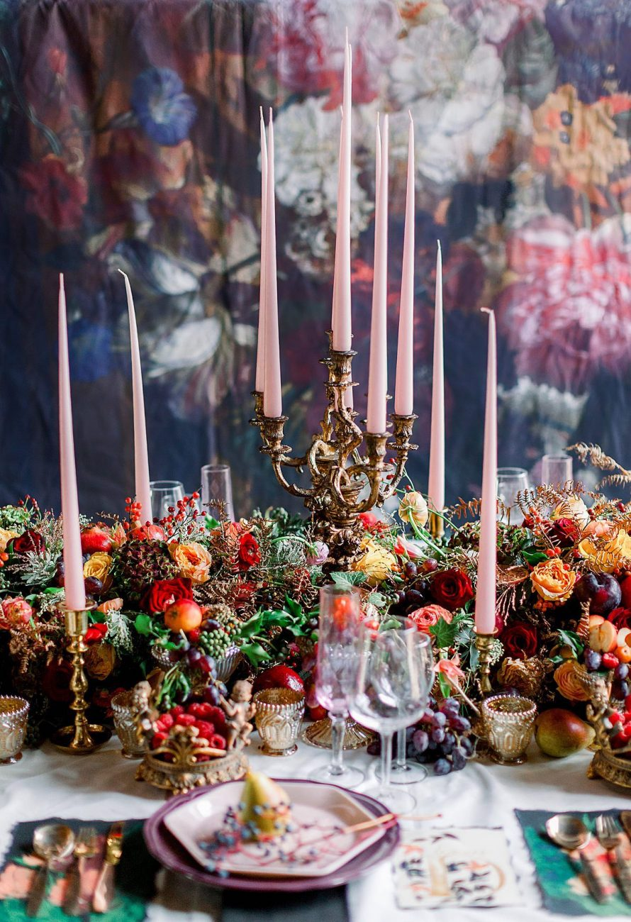 Baroque wedding with unlighted candles on the table