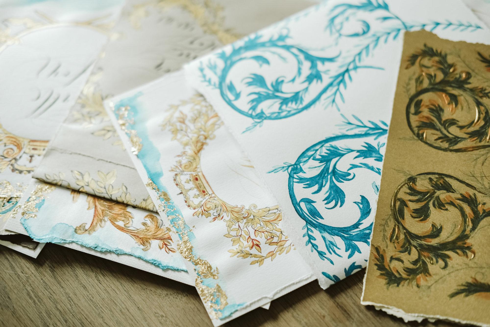 Illustrated wedding invitations blue and gold invitations