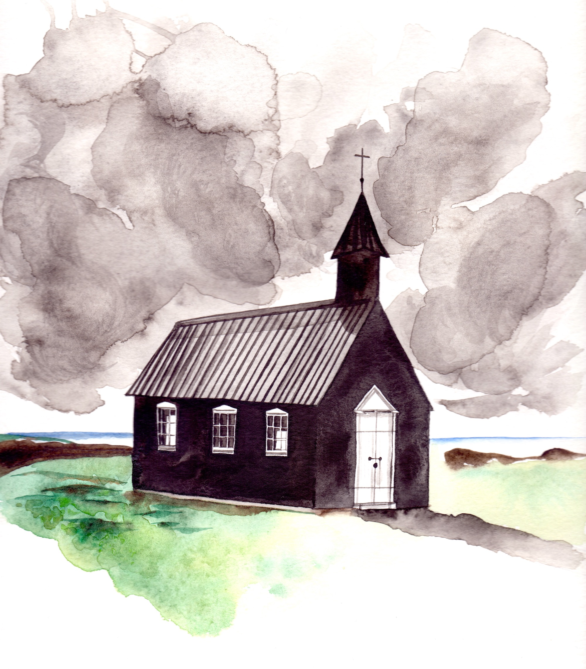 Illustrated wedding invitations showing a black church's watercolour