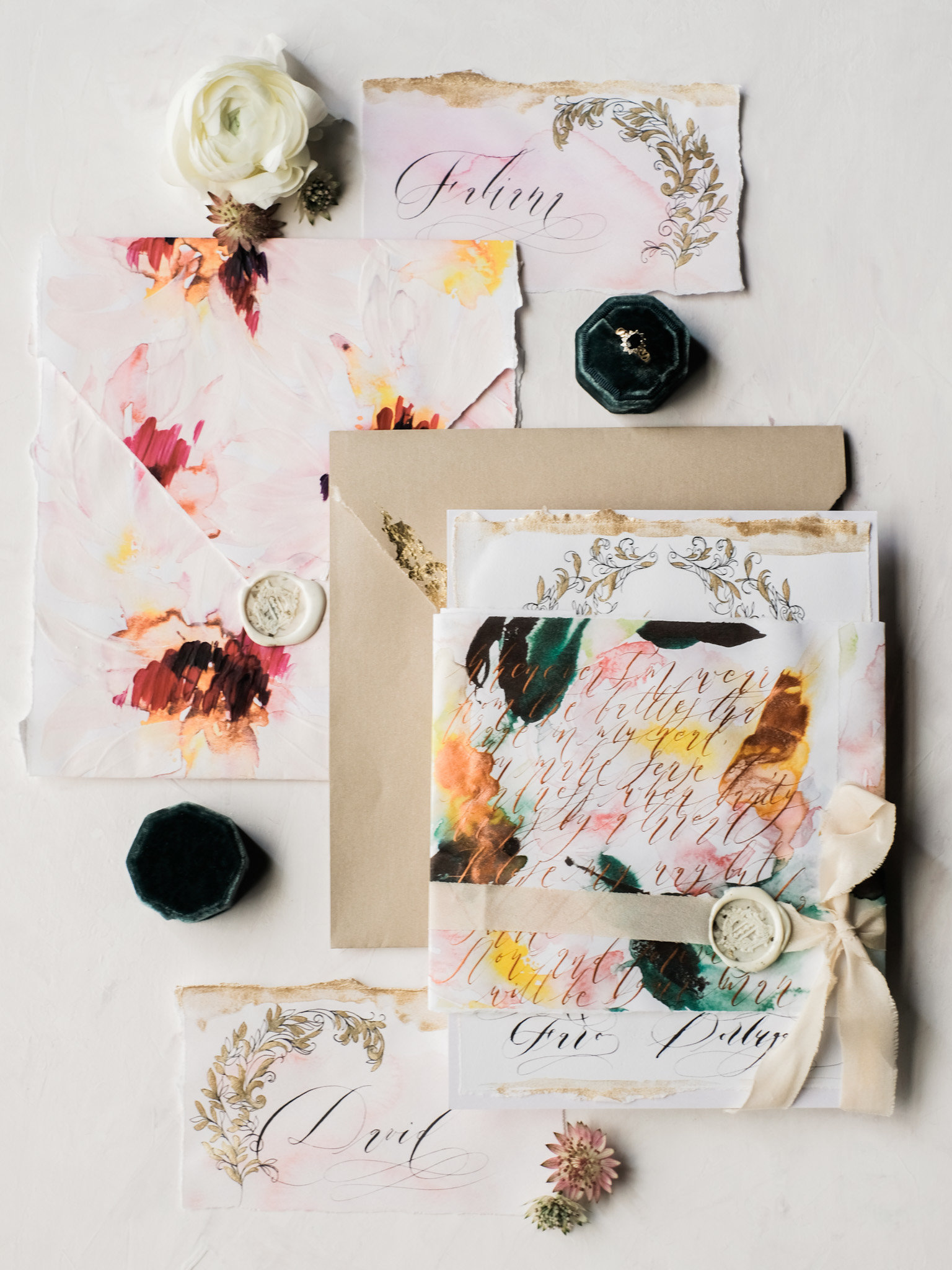 Illustrated wedding invitations with floral wedding invitation suite