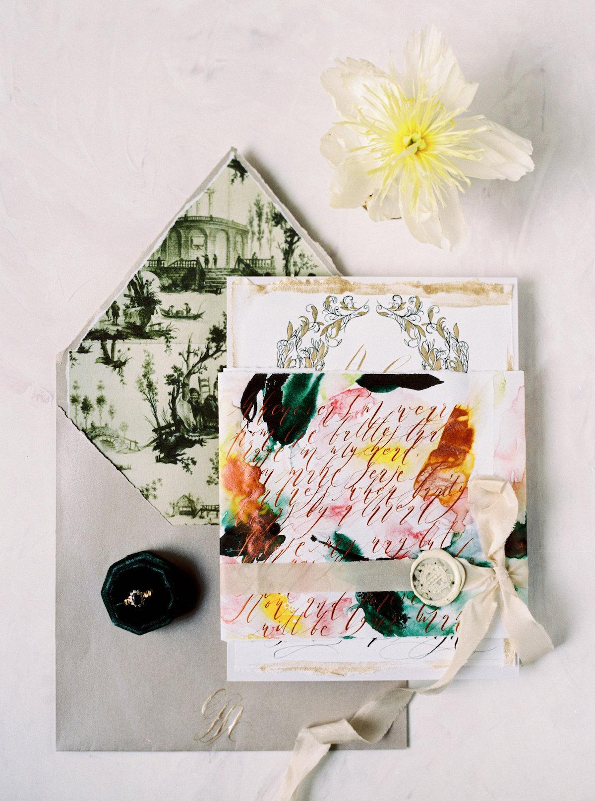 Illustrated wedding invitations with tarnished grey envelope