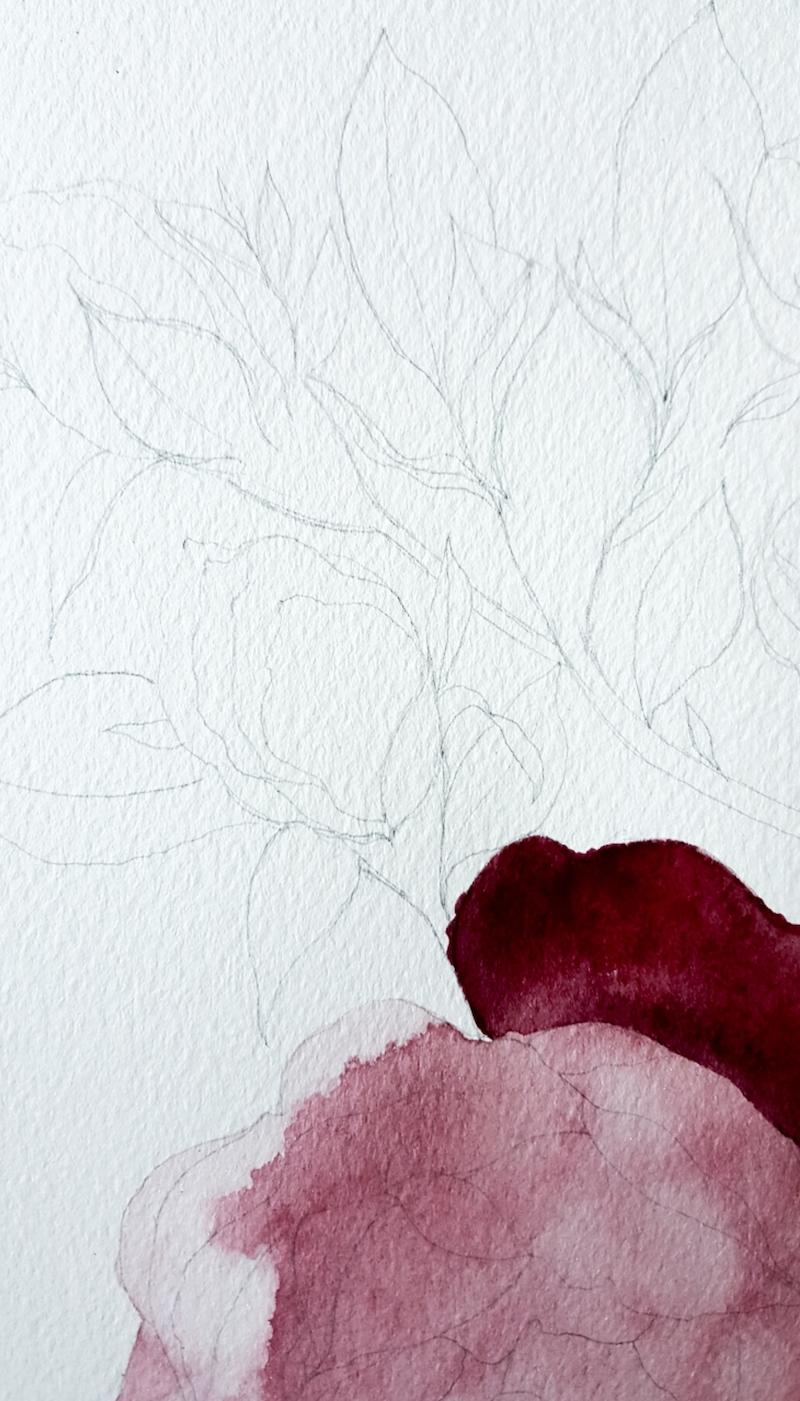 Watercolour wedding invitations process sketch