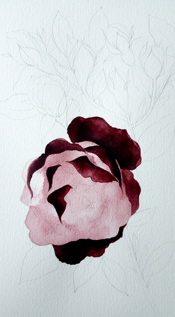 watercolour wedding invitations process with half of the rose painted in