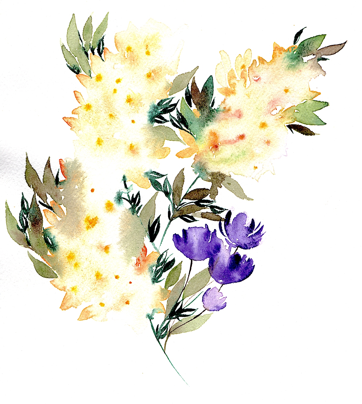 Yellow abstract flowers watercolour illustration