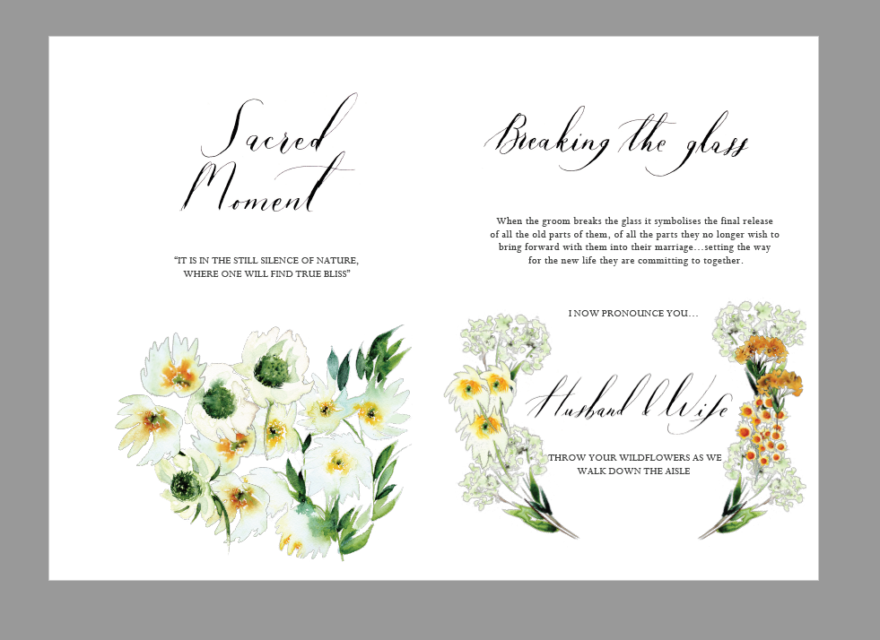 Bespoke wedding stationery design layout