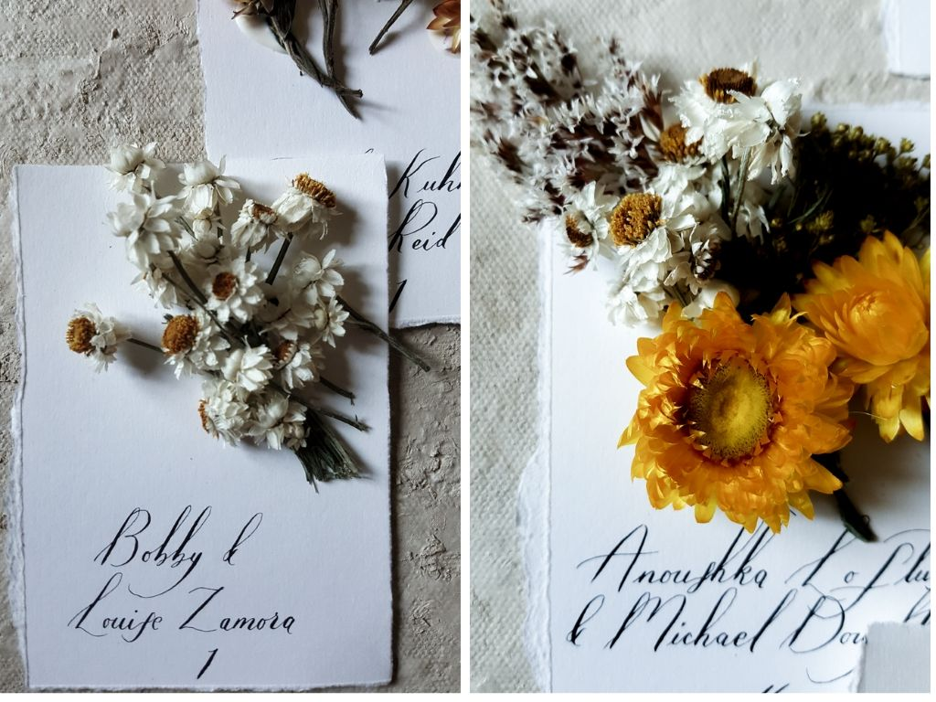 Bespoke wedding stationery handmade escort cards with dried flowers