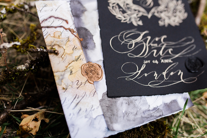 Black tie wedding invitations for a Californian wedding