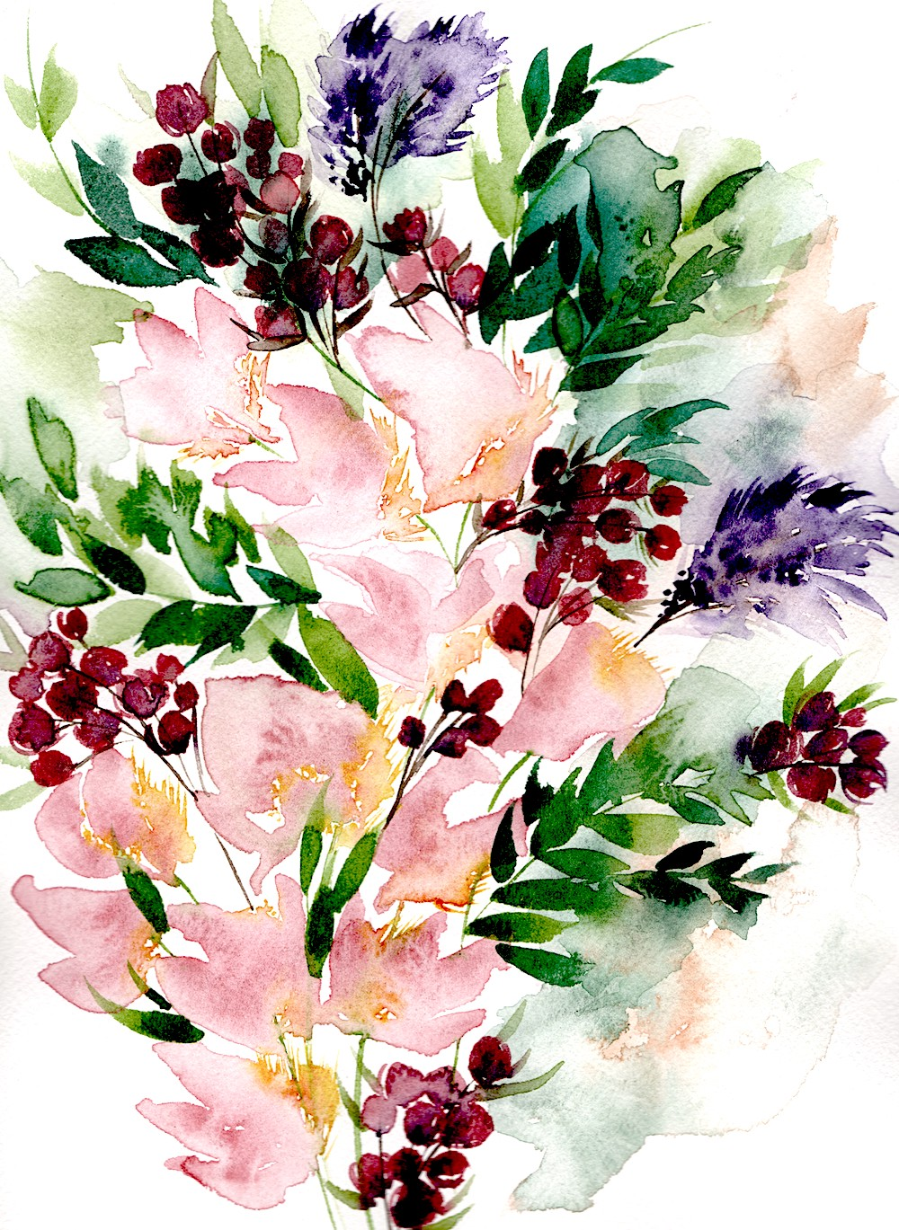 Blush abstract flower paintings