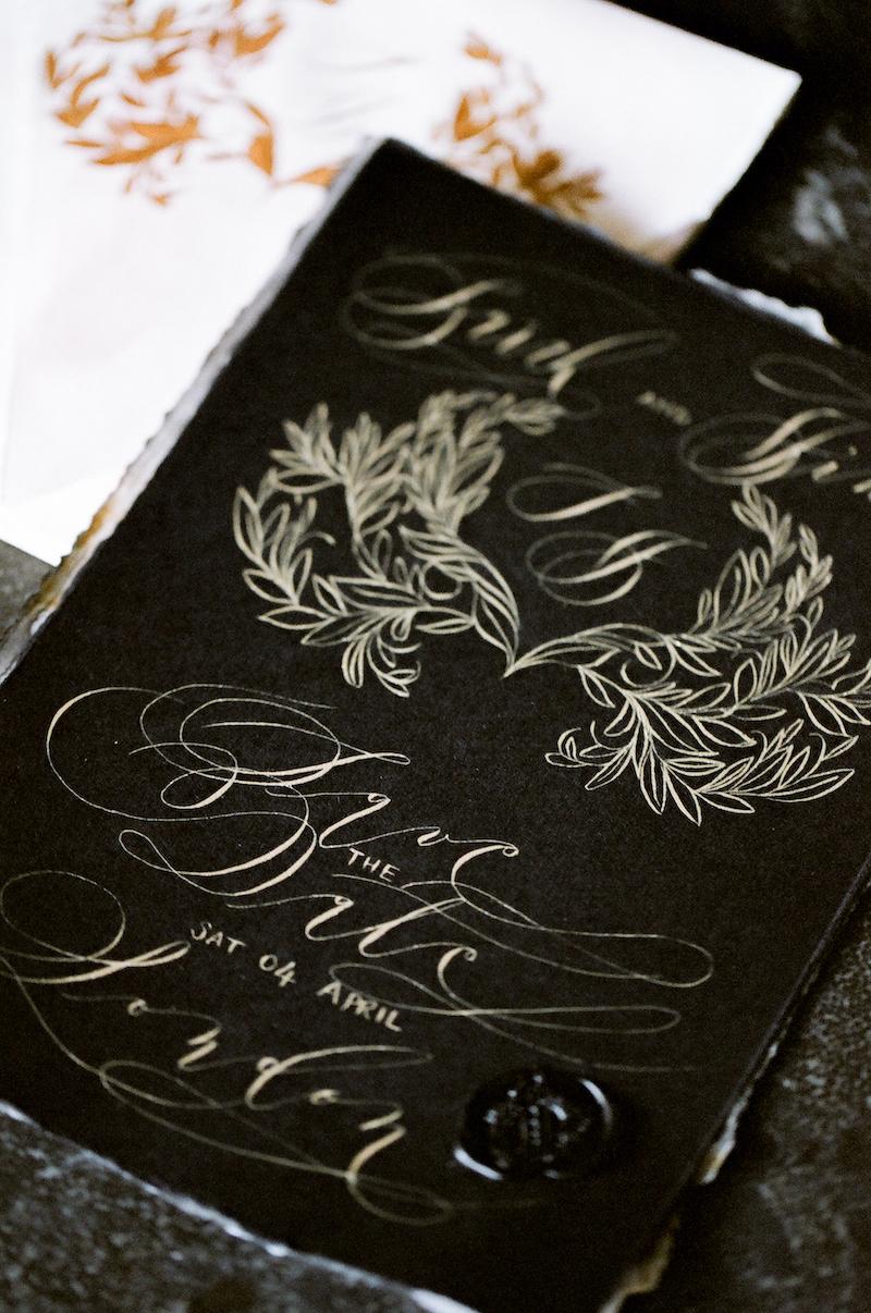California Luxury wedding invitations black tie