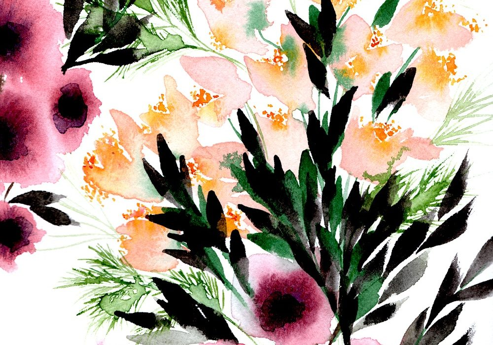 Creating watercolour illustrations - blush and mauve flowers