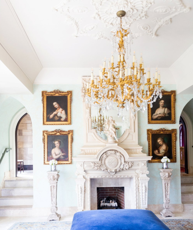 Dover Hall wedding venue interiors with large gold chandeliers