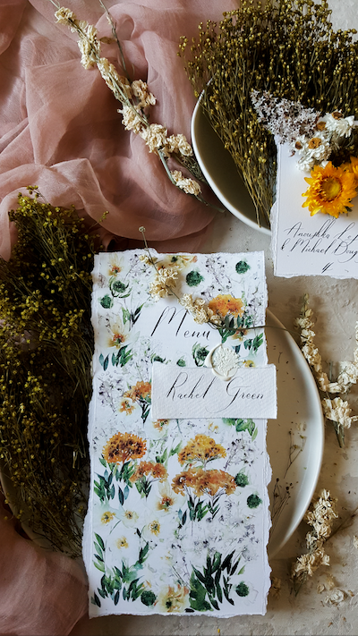 Floral Watercolour Wedding Menus