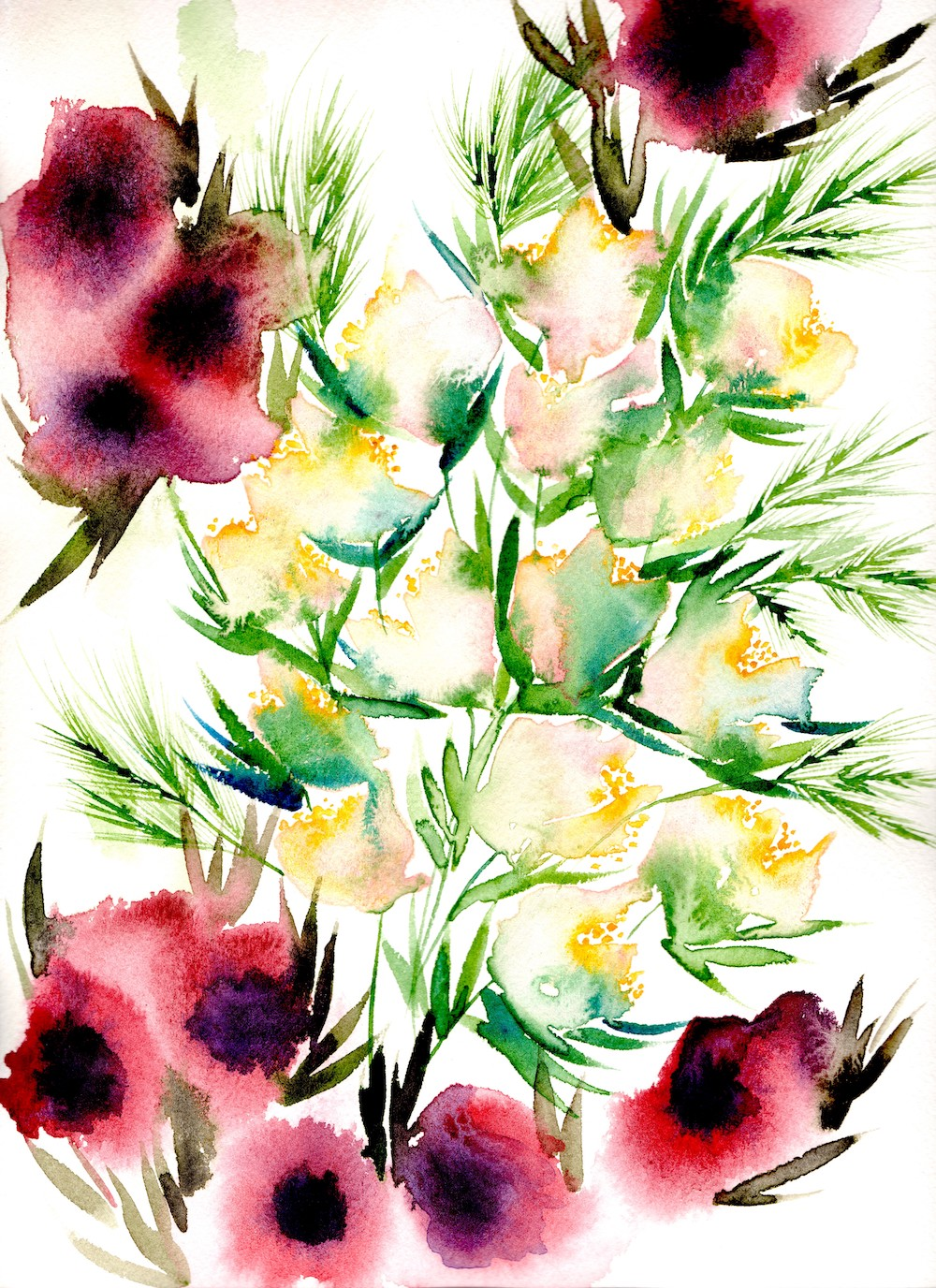 Flower watercolour artwork with blush, yellow and bright pink