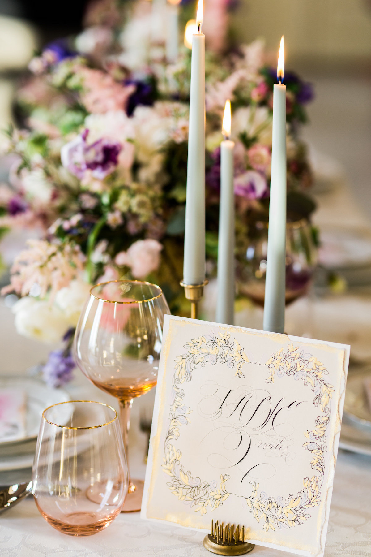 Gold and cream table number design for an elegant wedding in California