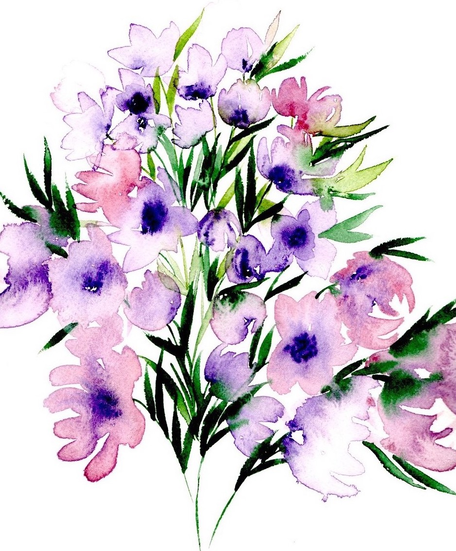 LILAC watercolours in lilac and green colours copy