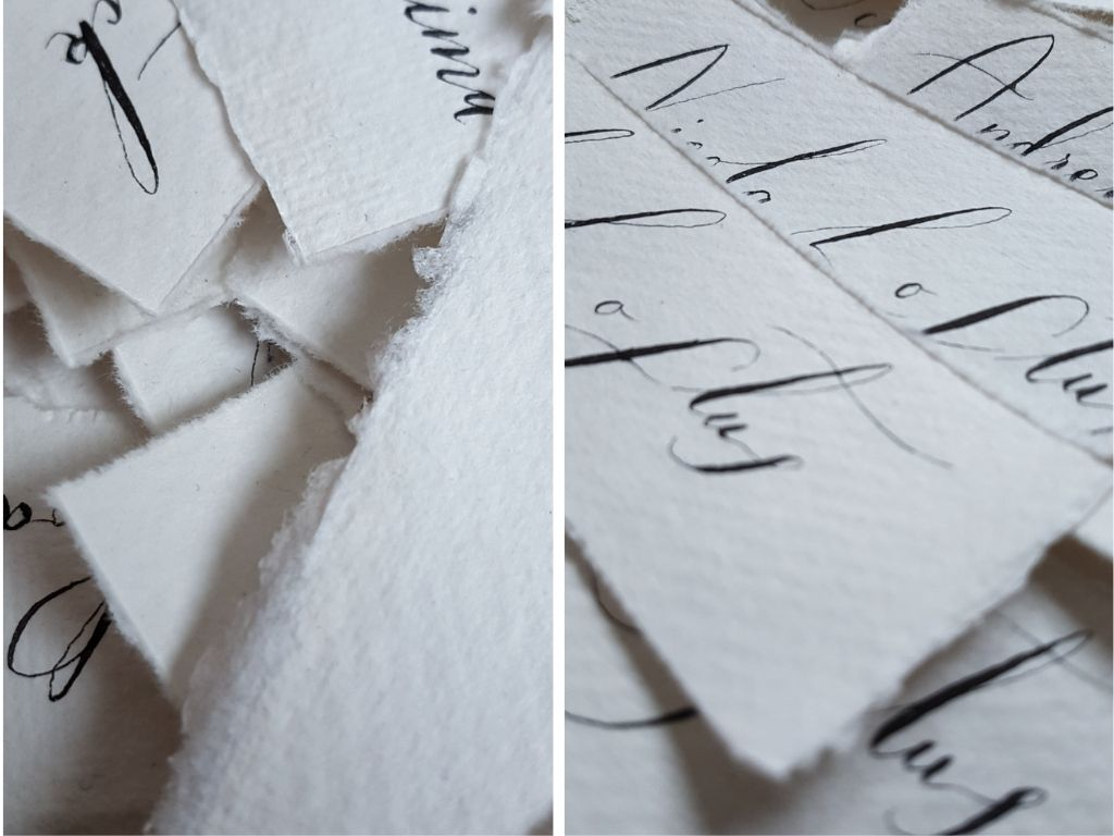 Place names for a bespoke wedding stationery client