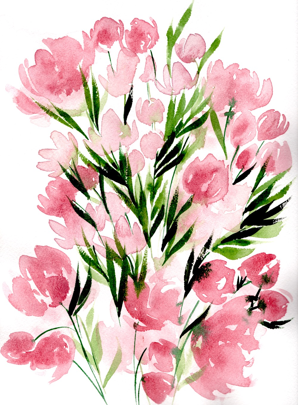 Pale pink watercolour flowers with green leaves