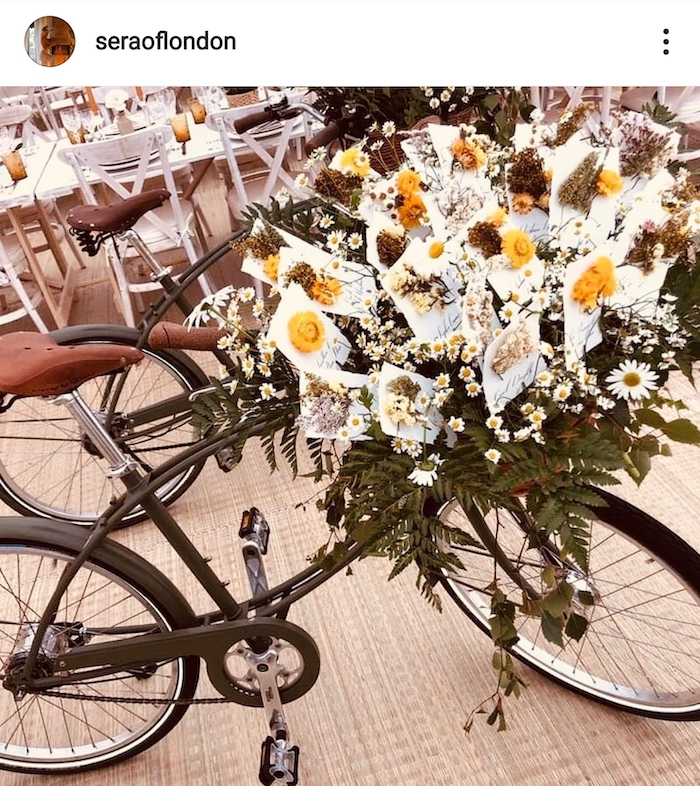 instagram post showing bike displaying cards