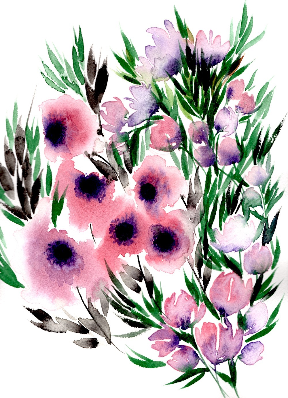 Lilac and red watercolour flowers with lots of thin leaves