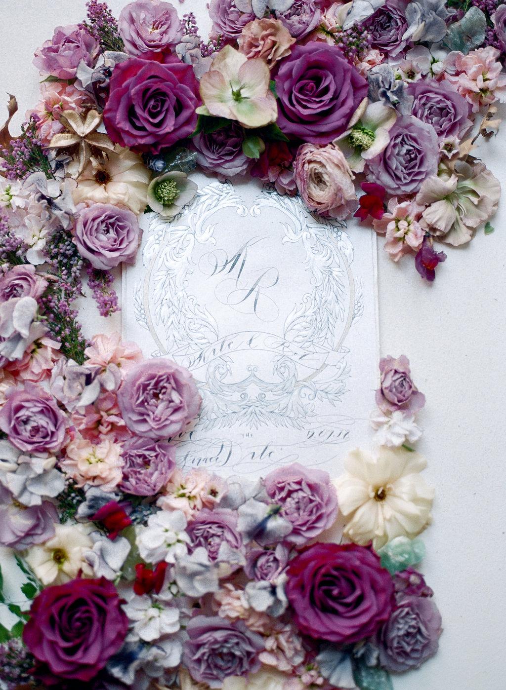 luxury event invitations in California with silver designs