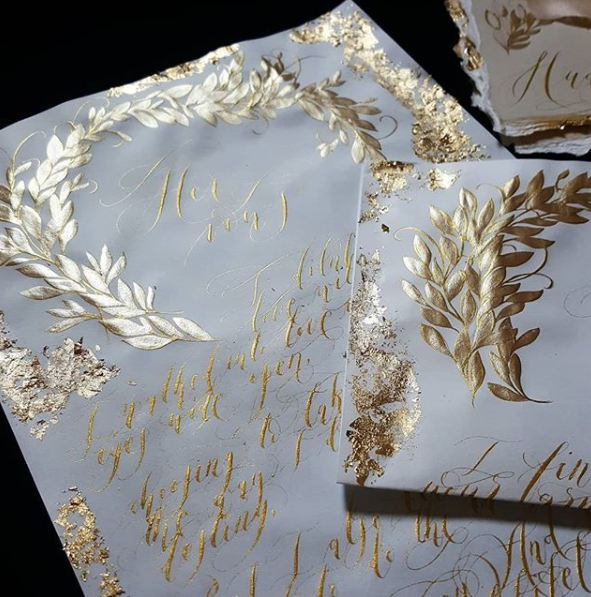 wedding vows with gold leaves artwork and gold calligraphy with gold foil