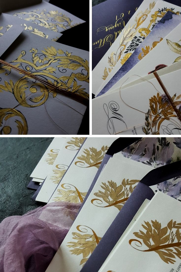 Bespoke illustrated wedding invitations with lilac and gold