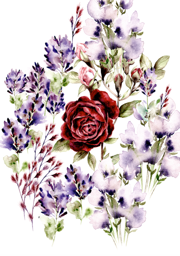 Bespoke watercolour design with flowers and a rose