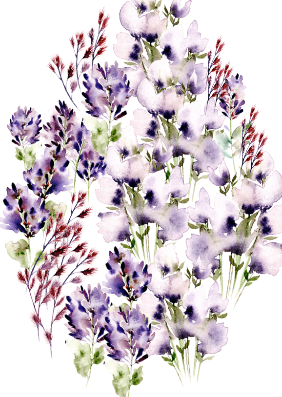 Bespoke watercolour design with lilac flowers for an envelope liner