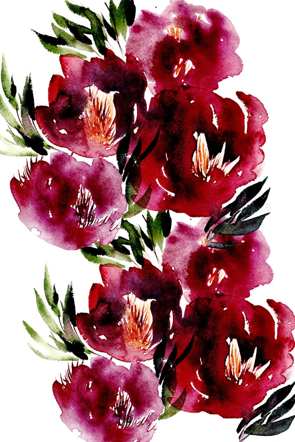 Bold, loose watercolour flowers