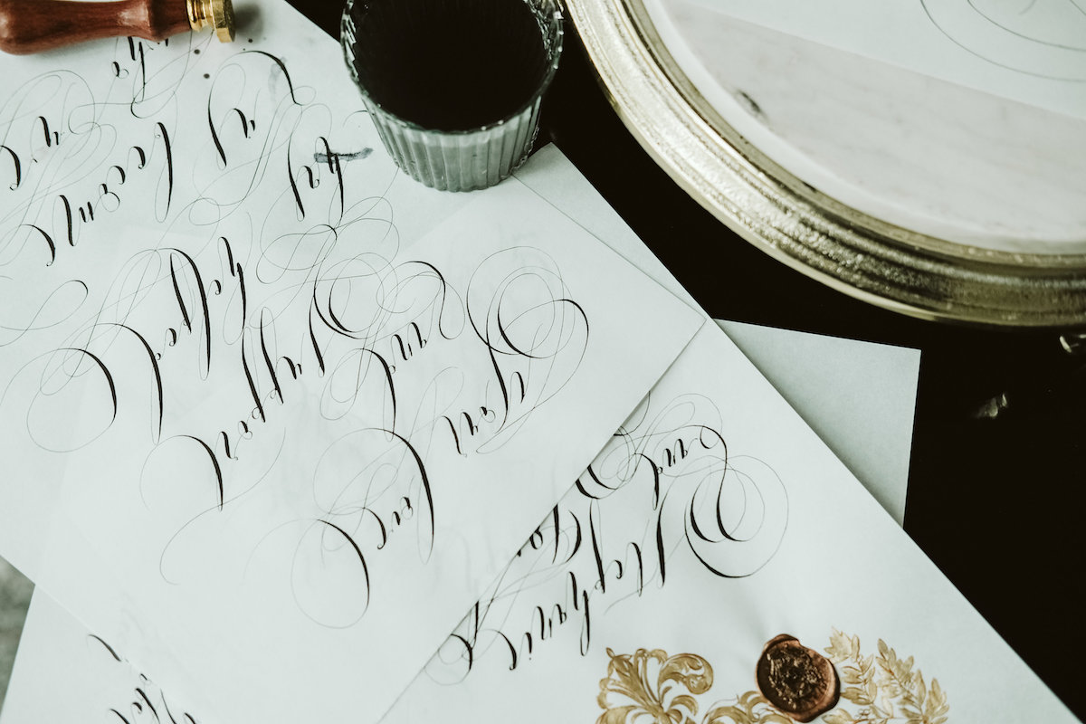 Calligraphy flourishes and writing