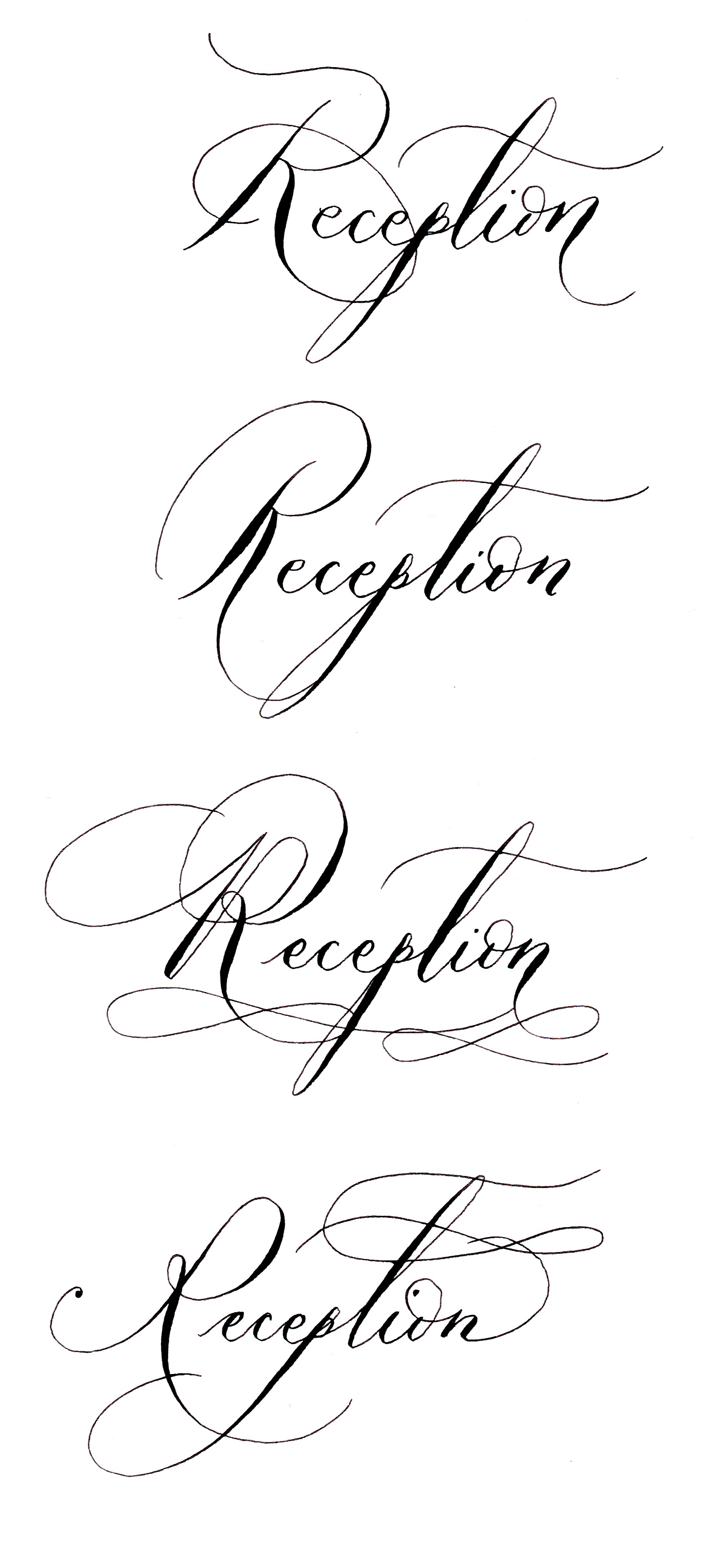 Calligraphy by hand with various reception word options