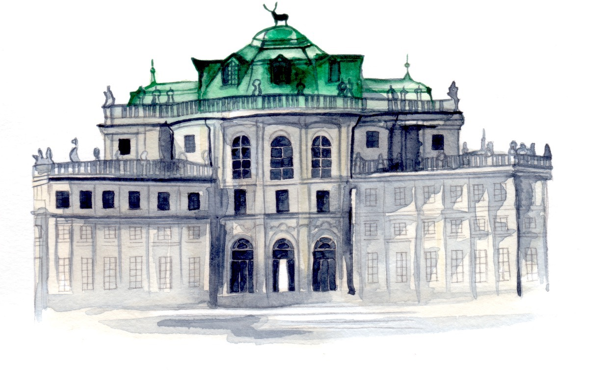 Cliveden House wedding venue watercolour