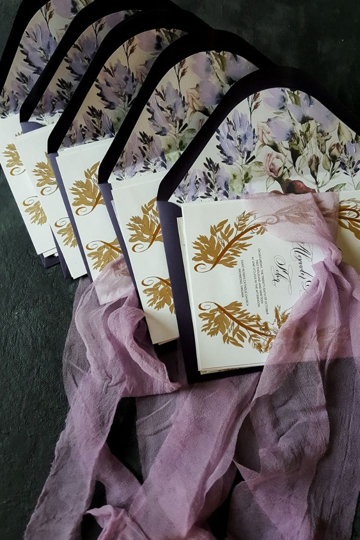Final wedding invitation design with gold and purple