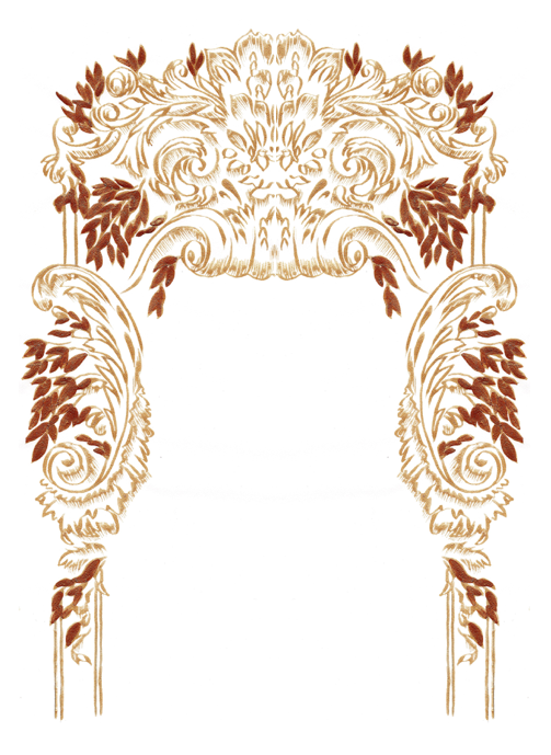 Gold artwork for bespoke illustrated wedding stationery
